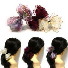 Ribbon and plastic. Fabric Ribbon, Ribbon Bows, Banana Clip, Hair Claw, Ponytail Holders, Big Hair, Clamp, Layers, Chiffon