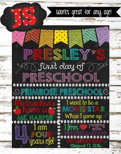 **First Day of School / Back to School Sign**    Perfect for your kids First Day of School!    This listing is for a high resolution personalized First Day of Preschool Milestone Chalkboard Poster. (DIGITAL FILE ONLY)    Please CAREFULLY read the points below before purchasing!    -ALL ITEMS in my shop are DIGITAL FILES ONLY.  - No physical poster/sign is shipped in the mail.  -This item is shipped via email or direct link to download.  -The buyer is responsible for printing the poster…
