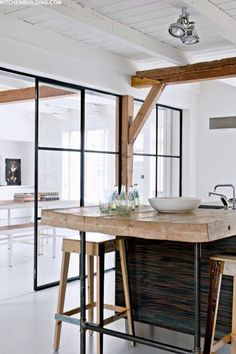 One of my favorite trends in design right now is the use of steel windows and doors. House Design, Interior Design Kitchen, Interior Design, House Interior, Dream Decor, Kitchen Interior, Interior, Glass Doors Interior, Home Decor