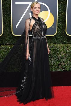 Best Dressed at the Golden Globes 2018: All the Stars in Black - Diane Kruger in Prada