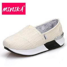 MINIKA Shallow Mouth Slip on Flat Shoes for Women Solid Colors Canvas Fabric Women Casual Shoes Comfort Women Platform Loafers