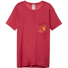 PINK University of Southern California Campus Short Sleeve Tee ($33) ❤ liked on Polyvore featuring tops, t-shirts, print, graphic t shirts, pink graphic tee, print t shirts, pattern t shirt and oversized graphic tee