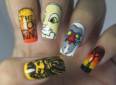 Lion King Nails!  http://www.fingerpaintedblog.com/2012/08/the-one-with-lion-king-nails.html