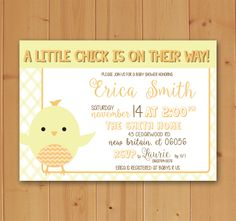 Little Chick Baby Shower Invitation Custom Downloadable File by JMCustomInvites on Etsy