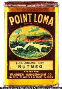 Point Loma Nutmeg Tin packed for Klauber Wangenheim Co., California
