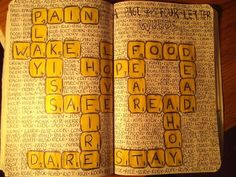 """Four Letter Words"" ... Scrabble is the most creative way I've seen someone fill this page."