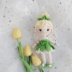 Ravelry: Tinker Bell Amigurumi pattern by Thuy Anh Crochet Doll Pattern, Crochet Patterns Amigurumi, Amigurumi Doll, Knitted Dolls, Crochet Dolls, Crochet Crafts, Crochet Projects, Crochet Kawaii, Crochet Fairy