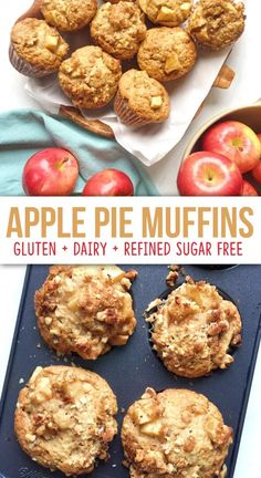 Apple Pie Muffins - The Dish On Healthy Dairy Free Muffins, Healthy Muffins, Healthy Apple Snacks, Clean Eating Muffins, Paleo Recipes Healthy, Healthy Recipes With Apples, Apple Recipes Healthy Clean Eating, Low Calorie Muffins, Heart Healthy Desserts