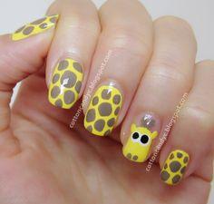 Cute Giraffe Nail Art Tutorial {How To} Co Washing, Best Acrylic Nails, Acrylic Nail Art, Cute Nails, Pretty Nails, Giraffe Nails, Cotton Candy Nails, Animal Nail Art, Cute Giraffe