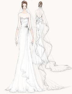 Angelina Jolie wedding dress sketch #weddings. Illustration courtesy of Watters.