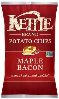 Maple and bacon flavors in a chip? Kettle Potato Chips in Salty Sweet and Maple Bacon Flavors combine sweet and savory flavors for a well-balanced flavor.