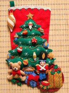 Completed Bucilla Under the Tree Christmas Stocking Christmas Makes, Felt Christmas, All Things Christmas, Christmas Holidays, Christmas Decorations, Christmas Ornaments, Christmas Sewing, Christmas Projects, Holiday Crafts