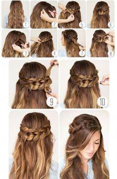 Step by step braided hair tutorials braid hair hair styles, long ha Shaved Side Hairstyles, Hairstyles With Bangs, Diy Hairstyles, Wedding Hairstyles, Fashion Hairstyles, Hairstyles Pictures, Evening Hairstyles, Hairstyles Videos, Simple Hairstyles
