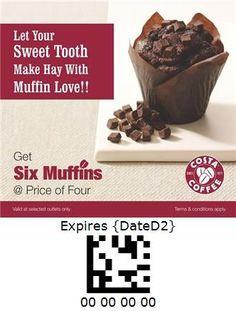 Costa Coffee - India Costa Coffee, Sweet Tooth, Muffins, Pudding, Beef, Desserts, Coupon, India, Food