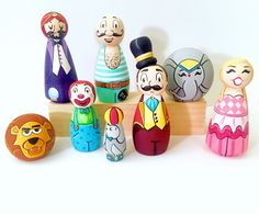 From etsy /circus-wood-peg-doll-set