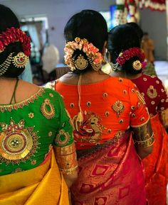 Beautiful green orange and red color designer blouse. Greean color deisgner blouse with chaand bali design hand embroidery zardosi work. Orange color desogner blouse with swan and chaandbali design hand embroidery thread and bead work. Red color designer blouse with chaandbali design hand embroidery bead work. 13 November 2017