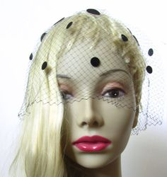 Vintage 1950s Classic Glamour Head Veil Hat New with by MKRetro, $38.00