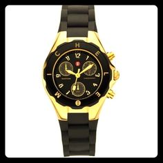 MICHELE Tahitian gold and black jellybean Tahitian Mini Jelly Bean Black Silicone MWW12F000033 Gold Ladies Watch.Item Description Case Size - 36 mm Dial - Black Enamel Crystal Type - Mineral Water Resistant - 5 ATM Movement - Chronograph Michele Accessories Watches