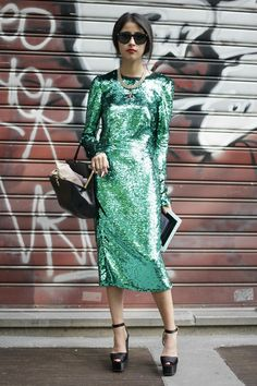NYC Street Style: Emerald green sequin..LOVE!!