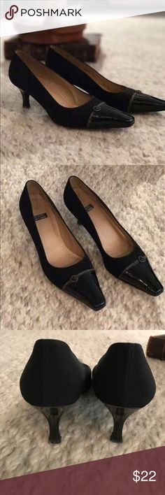 "Stuart Weitzman Black Heels - Pumps Stuart Weitzman black nylon heels with black patent toe caps. Size 5B shoes have 2"" heels. Stuart Weitzman Shoes Heels"