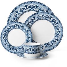 Ralph Lauren Home 5-Piece Empress Dinnerware Place Setting ($88) ❤ liked on Polyvore featuring home, kitchen & dining, dinnerware, colored dinnerware, floral china, blue and white dinner plates, blue and white dinnerware and blue and white china