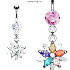 Navel ring with dangling jeweled flower #mspiercing #piercings