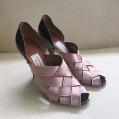 LANVIN heels ✨ Designer LANVIN heels with weaved satin silk in the front and patent leather. peep toe and beautiful and great condition! Marked size 40 / but fits like a 9/9.5 Lanvin Shoes Heels