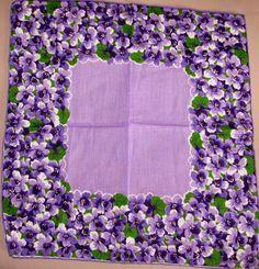Violets hankie Vintage Love, Vintage Floral, Vintage Ladies, Sweet Violets, Retro Fabric, Vintage Handkerchiefs, Romantic Flowers, Linens And Lace, All Things Purple