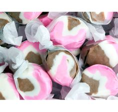 Home Colors Pink Candy Neapolitan Salt Water Taffy Pink Chocolate, Chocolate Strawberries, Neapolitan Ice Cream, Salt Water Taffy, Strawberry Ice Cream, Best Candy, Candy Making, Candy Store, Candy Apples