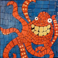 SOLD /// HAPPY OCTOPUS Original Paper Mosaic on painted canvas by Brenda Flynn of High Tide Gallery. (copyrighted image - all rights reserved 2012)  SHOP ONLINE for available Brenda Flynn art at: http://www.staugustineart.net/seaside-home-decor.html