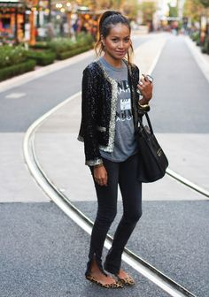 I love the whole look. Casual but sparkly with that fab jacket.