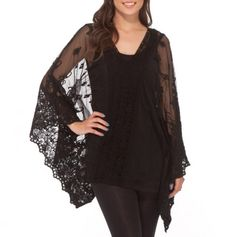 Lace and Crochet Batwing Tunic - Trendy Spring Apparel - Events