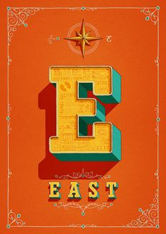 East London's where it's at. A bold and beautiful drop cap poster for East London, hand illustrated by London based type designer and illustrator Tobias Hall Typography Letters, Graphic Design Typography, Lettering Design, Hand Lettering, Japanese Typography, Typography Poster, Type Design, Web Design, Logo Design