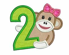 Sock Monkey Girl Happy Birthday Number 2 by EmbroideryLand on Etsy