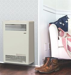 """The Cozy Direct-Vent Wall Furnace mounts on an outside wall and occupies minimal room space. The continuous seam-welded combustion chamber draws air from the outside and exhausts through a concentric vent system, which keeps the interior air warm and fresh. The louvered cabinet design maximizes airflow, providing uniform temperatures from floor to ceiling. A telescoping vent assembly is included and fits a standard 5""""- 9"""" wall thickness, eliminating the need for expensive."""