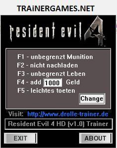 RESIDENT EVIL 4 HD V1.0 TRAINER +6 [DR.OLLE]  http://trainergames.net/resident-evil-4-hd-v1-0-trainer-6-dr-olle/