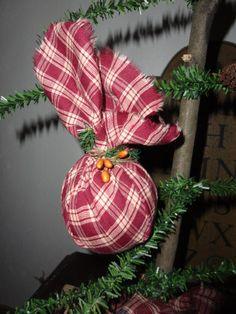 6 Primitive Homespun Fabric Christmas Ornaments Red Check. $12.00, via Etsy.