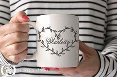 Nom personnalisé coeur vigne florale nom Mug, tasse à café, thé tasse, tasse en céramique, nom personnalisé Mug, cadeau personnalisé, Valentine Gift, moins de 50