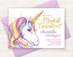 Unicorn Invitation, Unicorn Birthday Invitation, Unicorn Party Invite, Unicorn Birthday Party Invitation Printable Unicorn Invite Watercolor handpainted invitation - rainbow unicorn invitation - magical celebration