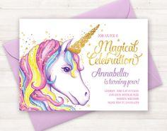Unicorn Invitation, Unicorn Birthday Invitation, Unicorn Party Invite, Unicorn Birthday Party Invitation Printable Unicorn Invite Watercolor handpainted invitation - rainbow unicorn invitation - magical celebration