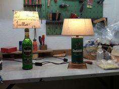 Zwei Lampen aus Glenfiddich Flasche und Verpackungsdose selber umgebaut