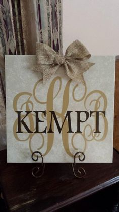Ceramic tile with burlap bow Personalized with by adifferentlook, $25.00