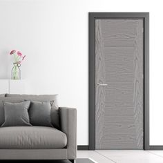 The beautiful Heta Pearl Grey Flush Door - Prefinished is ready for fitting, finish this with a pair of stunning handles to make it really stand out in a room.    #interiordesign #design