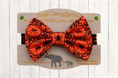 Halloween Fabric Bow Headband, Fabric Bow Clip-on || Creepy Spiders on Black and Orange Sparkle Elastic Band or Clip Mounted by mamasluckyelephant on Etsy