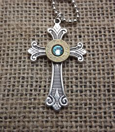 cross bullet necklace bullet jewelry by SouthernTouchDesigns