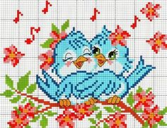 Patterns of embroidery of birds with children 0 Cross Stitch Love, Cross Stitch Animals, Cross Stitch Flowers, Cross Stitch Charts, Cross Stitch Designs, Cross Stitch Patterns, Cross Stitching, Cross Stitch Embroidery, Embroidery Patterns