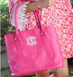 Pink monogram tote bag