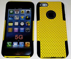 myLife (TM) True Black and Sun Yellow (Slim Mesh Armour Suit) Hybrid 2 Layer Case for New Apple iPhone 5C Touch Phone (Slim Outer Shock Resi...