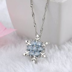 Blue Crystal Snowflake Zircon Flower Silver Necklaces & Pendant – Alashia's Closet