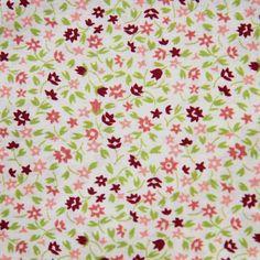 Bavlněná látka Kytičky růžové se zelenou